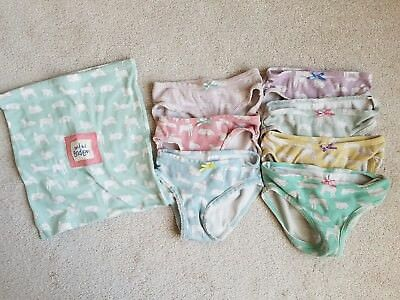 Lot of 7 Girl's MINI BODEN 100% Cotton Lamb Underwear Size 3-4 Year Olds