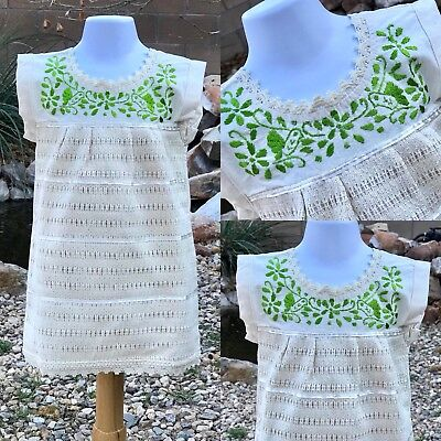 856c72cca Mexican toddler dress Handmade & hand embroidered in Chiapas Mexico Size 18-24  M