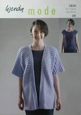 KNITTING PATTERN Ladies Long/Short Sleeve Jacket & Sleeveless Top DK Wendy 5816