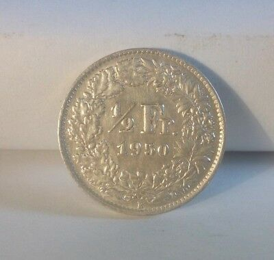 Silver Coin Switzerland 1/2 franc 1950 (A400) ***FREE SHIP***