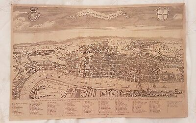 Original antique map A VIEW OF LONDON ABOUT THE YEAR 1560 William Maitland 1738