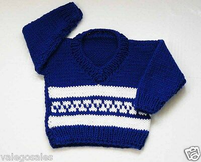 Fair Isle Knitted Pullover Jumper for Baby 0 - 6 mo Royal Blue and Whiter #109