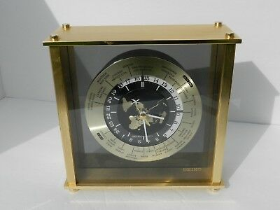 Seiko World Time Clock Airplane Hand, Gold-Tone, Battery Operated QQZ885A Nice!