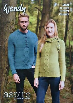 KNITTING PATTERN Mens Ladies Button Neck/Raglan Cable Jumper Chunky Wendy 5820