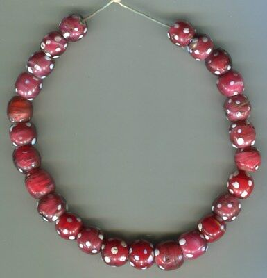 African Trade beads glass Vintage Venetian glass 25 red skunk eye beads