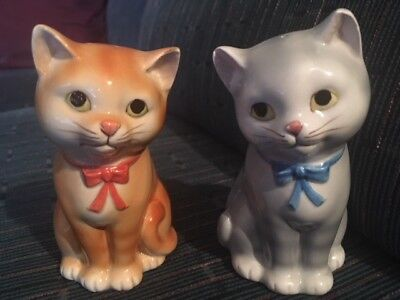 VINTAGE Otagiri Cat Kitten Salt & Pepper Shaker set with decals attached Japan