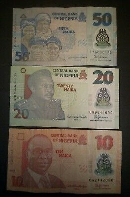 Nigeria 3 different banknotes polymer