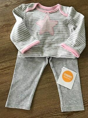Gymboree baby girl 6-12 months 2-piece outfit top + leggings pink/gray NEW!!