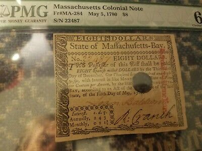Massachusetts Colonial Note $8 May 5, 1780 PMG 63 Choice Uncirculated Gorgeous!