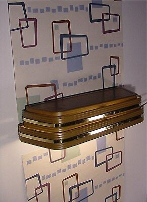 Vtg Mid Century Modern Gold Band Cloud Sconce 3 Tier Louver Art Deco WELL MADE .