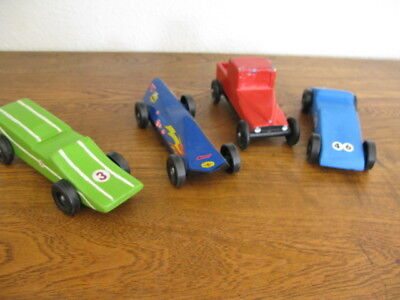 Lot of 4 Vintage Pinewood Derby Cars from the 1950's Husband's Collection NO RES