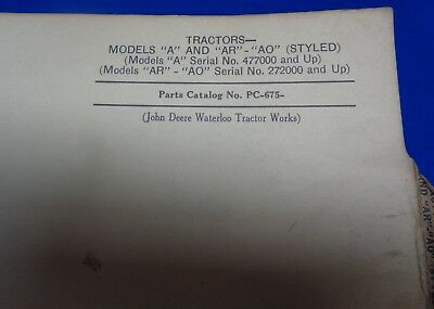 Vintage John Deere A, Ar, & Ao Tractor Parts List - Styled - Used
