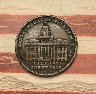 1835 Hard Times Token Not One Cent for Tribute Millions for Defence #DR67 Sharp