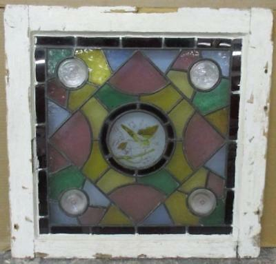 "OLD ENGLISH LEADED STAINED GLASS WINDOW Hand-Painted Victorian 22"" x 21.75"""
