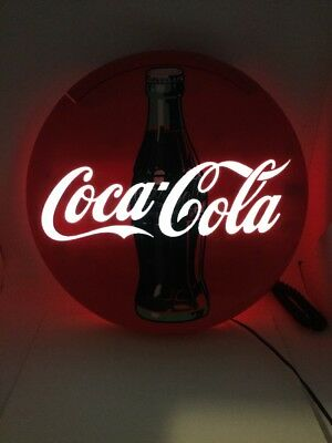 "Vintage 1996 Coca Cola 12"" Round Lighted Phone Coke"