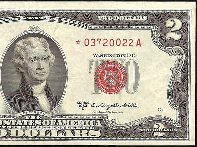 KEY STAR 1953C $2 TWO DOLLAR UNITED STATES LEGAL TENDER RED SEAL NOTE Fr 1512*