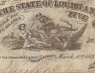 1863 $5 Dollar Bill South Striking Down The Union Louisiana Note Old Paper Money