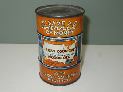 Early Cross Country Motor Oil Can Bank
