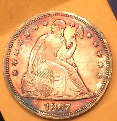1867 Seated Liberty Silver Dollar. High Grade Album Toning Repunched Date Rare