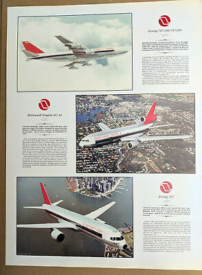 NORTHWEST AIRLINES - POSTER 24x18 / BOEING 747-100/747-200 / DOUGLAS DC-10 / 757
