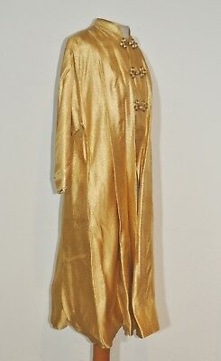 1960's Maxan Metallic Gold Lame' Chinese Coat / Lounging Robe MED - LG