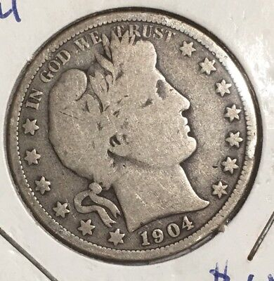 1904-O BARBER HALF DOLLAR - 90% SILVER COIN - only 1.21 million minted
