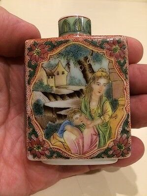 Antique Chinese porcelain snuff bottle 7cm high