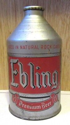 IRTP 1940's Ebling Beer 12 FL OZ Crowntainer Cone Top Beer Can