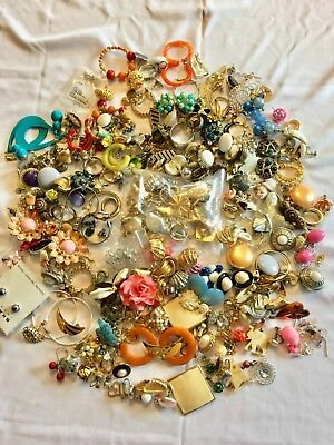 Vintage Jewelry Earrings. Large lot of matching vintage earrings and singles