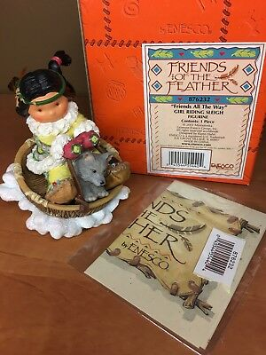 """Friends of the Feather """"Friends All The Way"""" girl riding sleigh figurine Enesco"""