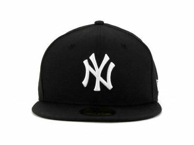 Mens New Era 59FIFTY New York Yankees Fitted Hat Cap NY Black White MLB AC  Field c993cc7373a8