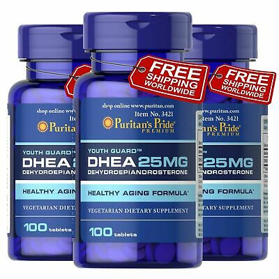 Puritans Pride DHEA 25 mg 300 Tablets Building Muscle Burning Fat Free Shipping