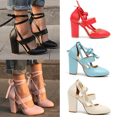 Women Block High Heels Leather Ankle Strap Sandals Pointed Toe Lace Up Shoes