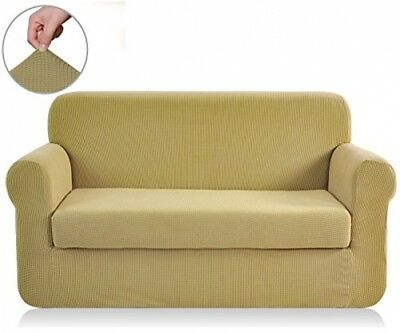 2pc Stretch Fabric Form Fit Solid Couch/Sofa + Loveseat Cover Set 72-92 inch