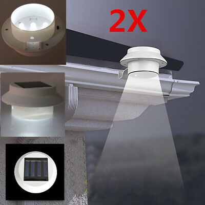 2x Solar Power 3 LED Fence Gutter Outdoor Garden Yard Pathway Lamp Wall Lights