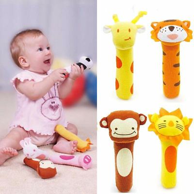 Boys Girls Newborn Baby Soft Sound Animal Plush Handbells Squeeze Rattle Toy