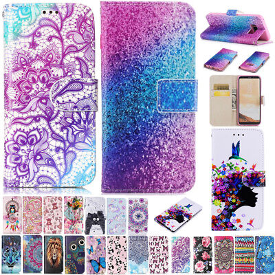 Patterned Magnetic Leather Flip Card Slots Case Cover For Samsung Galaxy Phones