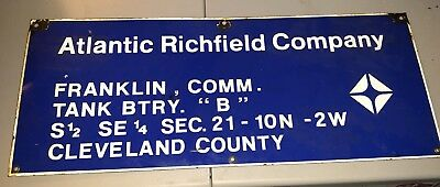 Vintage Atlantic Richfield Company Oil Field Porcelain Sign Cleveland County