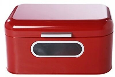 BREAD BOX RED Metal Retro Storage Container Bin Loaves Keeper Large