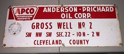Vintage APCO Anderson Prichard Oil Corporation Porcelain Sign Cleveland County