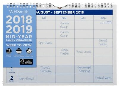 WHSmith Mid Year Academic A4 Family Organiser 2018-19 Week to View Wiro Bound