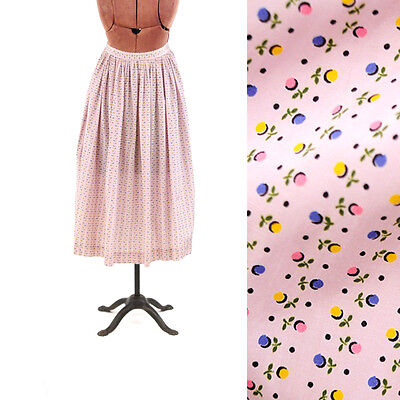 Vintage 50s Pale Pastel Pink Floral Novelty Print High Waist Full Pleated Skirt
