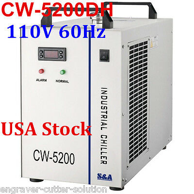 USA Stock! 110V CW-5200DH Water Chiller for 8KW Spindle / CO2 Laser Tube 60Hz