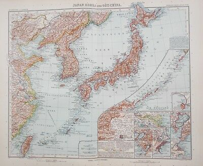 Map of Japan, Korea & Eastern China. 1909.  Stieler. Perthes. ASiA  Antique