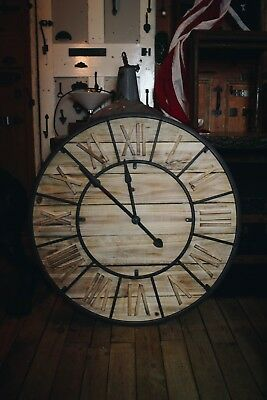 Large Rustic Wooden Wall Clock/Vintage/Decor/Roman Numerals/Traditional/Time/35""