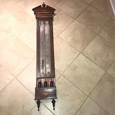 Antique 19th C. J. Stopani Dutch Marquetry Inlaid Barometer