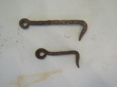 Antique Pair Hand Forged Gate Latch Barn Door Shed Primitive Blacksmith Made Old