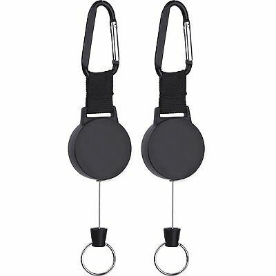 Heavy duty Retractable Key Chain with 25 Inch Stainless Cable 2 Pack NEW