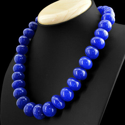 738.50 CTS EARTH MINED RICH BLUE SAPPHIRE 3 STRAND ROUND CARVED BEADS NECKLACE