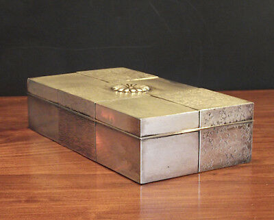 Japanese Chrysanthemum Wood Lined Silver Box